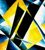 Abstract composition of color planes. Yellow, blue, hand drawn illustration. Smears, oil painting Royalty Free Stock Images