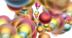 Abstract composition with colored 3d balls as computer game in space, bright background, 3d illustration royalty free illustration