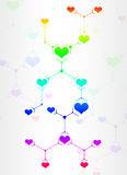 Abstract composition of colored lines and hearts Stock Images