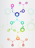 Abstract composition of colored lines and hexagons. On white background Royalty Free Stock Images