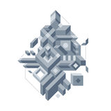 Abstract composition of complicated geometric shapes. Style of modern art and graffiti. The design element is isolated on a white background, suitable for Royalty Free Stock Image
