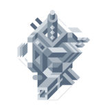 Abstract composition of complicated geometric shapes. Style of modern art and graffiti. The design element is isolated on a white background, suitable for Stock Images