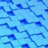 Abstract composition of cube blocks. Composition of blue glossy cube shaped blocks as an abstract background Royalty Free Stock Photos