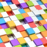 Abstract composition of cube blocks. Composition of bright rainbow colored cube shaped blocks as an abstract background Royalty Free Stock Images