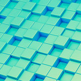 Abstract composition of cube blocks. Composition of green blue cube shaped blocks as an abstract background Stock Images