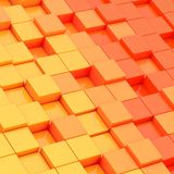 Abstract composition of cube blocks. Composition of yellow and orange cube shaped blocks as an abstract background Stock Photos