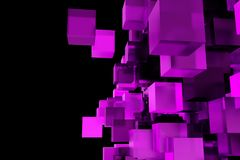 Abstract composition from 3d cubes with shadows. 3d rendering.  Royalty Free Stock Photos