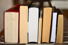 Simple still-life photo of old books stock photos