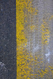 Abstract composition with detail of sidewalk and a snow print fr Stock Photography