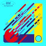 Abstract composition of diagonal lines and geometric shapes in bright colors. vector illustration