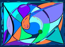 Abstract composition ,fancy curved shapes ,orange purple on blue background -18-122. Abstract composition , fancy geometric colorful shapes , orange , green royalty free illustration