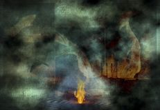 Fire on Water. Abstract composition. Fire burn on water surface Stock Image