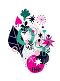 Abstract composition with floral hand drawn elements. Can be used for prints, posters, invitations and advertising. Abstract composition with floral hand drawn Stock Photography