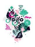 Abstract composition with floral hand drawn elements. Can be used for prints, posters, invitations and advertising. Abstract composition with floral hand drawn Stock Photos