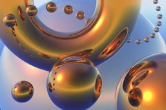 Abstract composition with flying gold spheres Stock Photos
