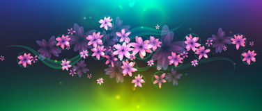 Abstract Composition Fowers. The composition of pink flowers for cards, letters, banners and backgrounds Royalty Free Stock Image