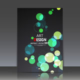 Abstract composition, geometric shapes icon, green bubbles ornament, a4 brochure title sheet, round logo construction backdrop, bu royalty free illustration