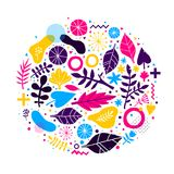 Abstract composition with hand drawn floral elements. Can be used for advertising, design, prints and posters. Abstract composition with hand drawn floral Stock Photos
