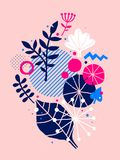 Abstract composition with hand drawn floral elements. Can be used for advertising, design, prints and posters. Abstract composition with hand drawn floral Royalty Free Stock Images
