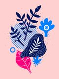 Abstract composition with hand drawn floral elements. Can be used for advertising, design, prints and posters. Abstract composition with hand drawn floral Royalty Free Stock Photography