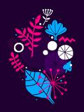 Abstract composition with hand drawn floral elements. Can be used for advertising, design, prints and posters. Abstract composition with hand drawn floral Royalty Free Stock Photos