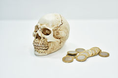 Abstract composition with human skull and coins. Royalty Free Stock Images