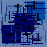 Abstract composition of lines and geometric shapes in bright blue colors. royalty free illustration