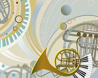 Abstract composition with musical instruments Stock Photo