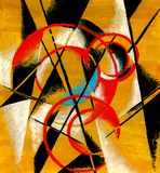 Abstract composition in mustard tones. Lyubov Popova. Circles and lines, mustard color, red, black, turquoise, white. Avant-garde, painting, painting vector illustration