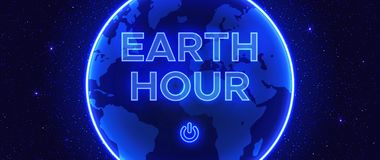 Abstract composition in neon style to the Earth Hour. royalty free stock images