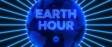 Abstract composition in neon style to the Earth Hour. royalty free stock photos