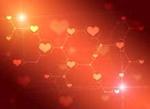 Abstract composition of red lines and hearts Royalty Free Stock Photo