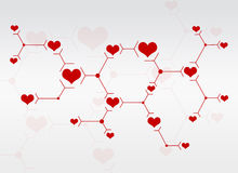 Abstract composition of red lines and hearts Royalty Free Stock Images