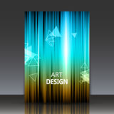Abstract composition, shiny geometric shapes flare. Visual colored line light, flying triangle radiance icon, logo construction, a4 brochure title sheet, firm Stock Photography