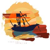 Abstract composition with the silhouette of a fishing boat against the background of a large sun with clouds. Vector image in bright yellow and orange color Royalty Free Stock Photography