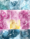 Abstract composition with squares. Abstract composition from violet, blue, yellow squares. Image effect Shabby Stock Photo