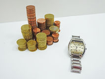 Abstract composition of time and money. Royalty Free Stock Photography