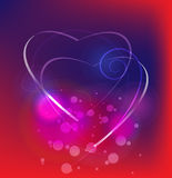 Abstract composition of two hearts. On purple - blue background Royalty Free Illustration