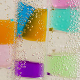 Abstract composition with underwater tubes with colorful jelly balls and bubbles Stock Photo