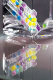Abstract composition with underwater tubes with colorful jelly balls. Inside and bubbles stock illustration