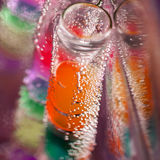 Abstract composition with underwater tubes with jelly balls and bubbles Royalty Free Stock Photos