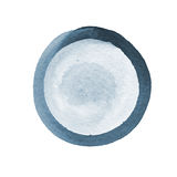 Abstract composition of watercolor circles in blue and gray on a white background. The template with empty space Stock Photography