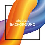 Abstract composition of the watercolor wave in black square. Colorful background with bent dynamic form. Vector illustration Stock Image