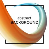 Abstract composition of the watercolor wave in black square. Colorful background with bent dynamic form. Vector illustration Stock Photo
