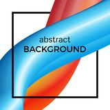 Abstract composition of the watercolor wave in black square. Colorful background with bent dynamic form. Vector illustration Royalty Free Stock Photos