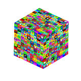 Cube with icons. Abstract composition which shows a cube with different colored icons on the faces on a white background Stock Images