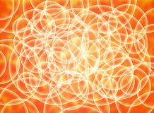 Abstract composition of white volume circles on a yellow and orange substrate. 3d background Royalty Free Stock Image