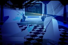 Abstract computer. Graphic abstract computer cad design with building  background Stock Image