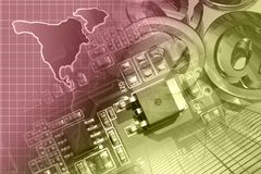 Electronic device and map. Abstract computer background with electronic device and map royalty free stock image