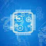 Abstract Computer Chip Blueprint Royalty Free Stock Photos